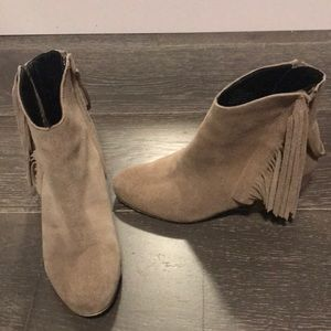 Fringe suede booties. Size 7